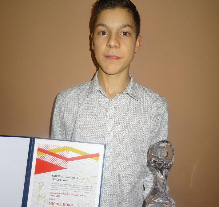 Michel Horn športnik leta 2018 Občine Črnomelj