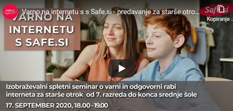 Posnetek seminarja o varni in odgovorni rabi interneta za starše otrok od 7. razreda dalje